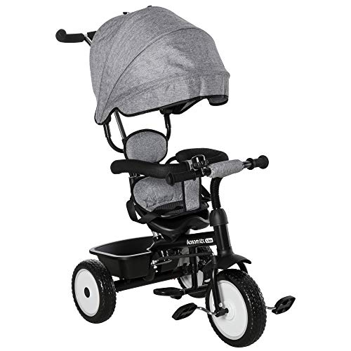HOMCOM 6 in 1 Kinderdreirad Dreirad Kinder Fahrrad Rad Kinderwagen Schubstange Sonnendach Sicherheitsgurt 6-60 Monate Grau+Schwarz 78 x 47 x 99 cm