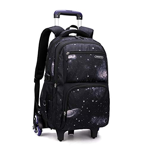 Bansusu Galaxy Prints Black Wheeled Backpack for Primary Middle School Boys Rolling Bookbag Satchels with Six Wheels