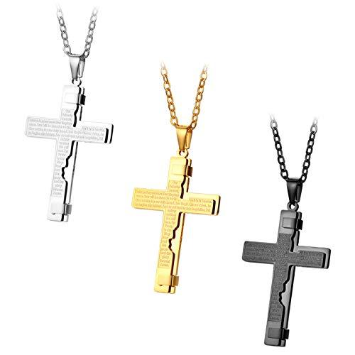 JewelryWe 3pcs Herren Halskette, Edelstahl Englisch Bibel Gebet Kreuz Anhänger mit 55cm Kette, Silber Gold Schwarz, Ostern Geschenk