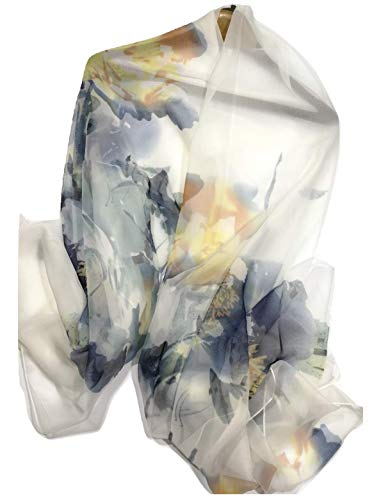 Shanlin Super Large Silk Feel Watercolor Floral Scarves for Women (Peony-Creamy white)