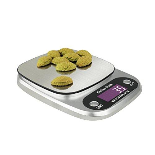 OUNONA Küchenwaage 10kg Edelstahl Elektronische Waage für Küchen LED Display Inkl.Batterie
