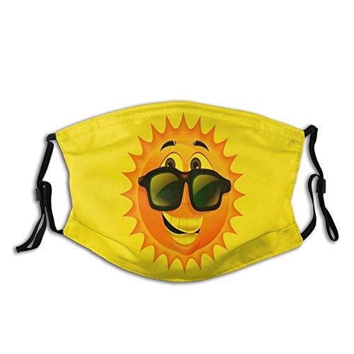 FULIYA Bandanas reutilizables lavables para hombre y mujer, con impresión 3D, transpirable, con 2 filtros, 1 paquete, sol, gafas, positivo, sonrisa
