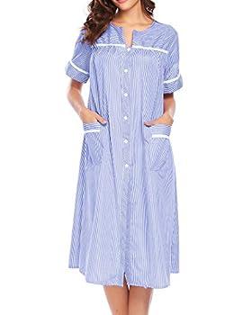 Ekouaer Women s Striped Sleepwear Button Down Duster Short Sleeve House Dress Nightgown S-XXL  Blue Medium