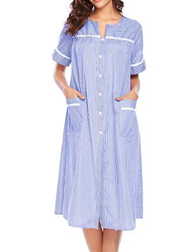 Ekouaer Women's Striped Sleepwear Button Down Duster Short Sleeve House Dress Nightgown S-XXL (Blue, Medium)