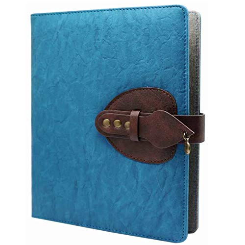 Classic Lined Notebook, A5 Leather Notebook with Pen Loop - Ruled Refillable Composition Notebook Travel Journal Business Meeting Writing Notebook with Pocket 100 Sheets /200 Pages (Blue)