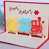 VIOYO 1 Uds Coche Feliz cumpleaños Pop Up 3D Tarjetas de felicitación con sobre Tarjeta Postal Invitación Aniversario de Origami Hecho a Mano