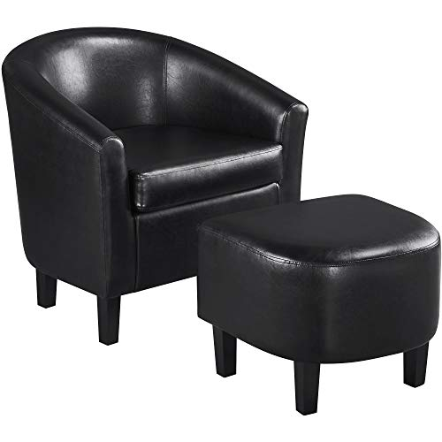 YAHEETECH Lounge Chair & Ottoman Modern Chaise Lounge Armchair with Footstool Faux Leather Lounge Reading Chair with Footrest Black