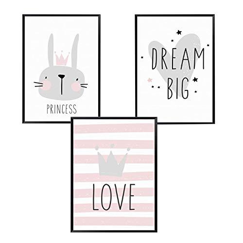 Topcce Bilder für Kinderzimmer 3er Set Kinderposter A4 Wandbilder Deko Für Mädchen Junge Babyzimmer (#1)