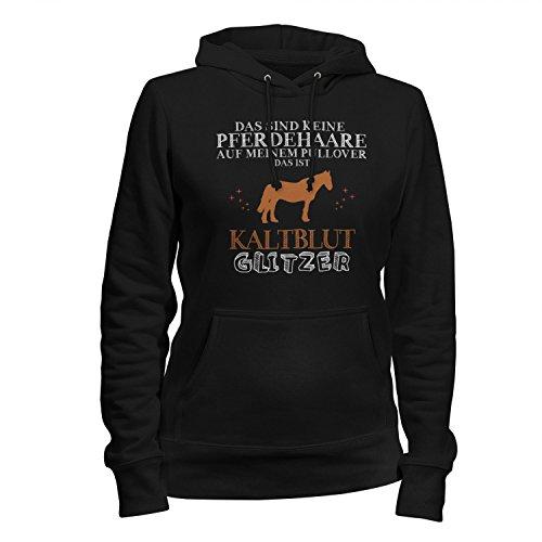 Fashionalarm Damen Kapuzen Pullover - Das sind Keine Pferdehaare - Kaltblut Glitzer | Fun Hoodie Spruch Geschenk Idee Pferd Reiten Reitsport, Farbe:schwarz;Größe:L