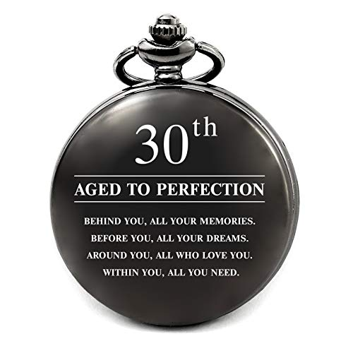 30th Birthday Gifts for Men Personalized Pocket Watch, 30 Years Old Birthday Gifts for Brother Husband Him Son (Aged to Perfection 30th)