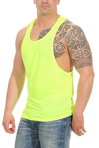 Happy Clothing Herren Tank-Top für Sport und Fitness - Bodybuilding - Muscle Shirt - Muskel-Shirt - Achselshirt, Größe:L, Farbe:Neongelb