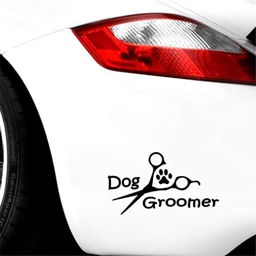 12,7 * 7,1 cm Hundefriseur Schere Pfote Herzschlag Hund- Auto Aufkleber Autodekoration