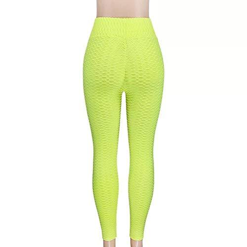 MQQM Push up Yoga Leggings de Cintura,Pantalones de Yoga de Cadera Seca de Alta Velocidad de Cintura, Polainas Delgadas de Burbujas-Fluorescente_S,Opacas Cintura Alta Yoga Medias