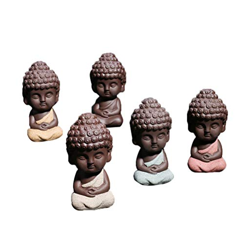 CoscosX 3 Pcs Cute Small Buddha Statue Adorable Monk Figurine Tathagata India Yoga Mandala Sculptures Ceramic Craft Decoration