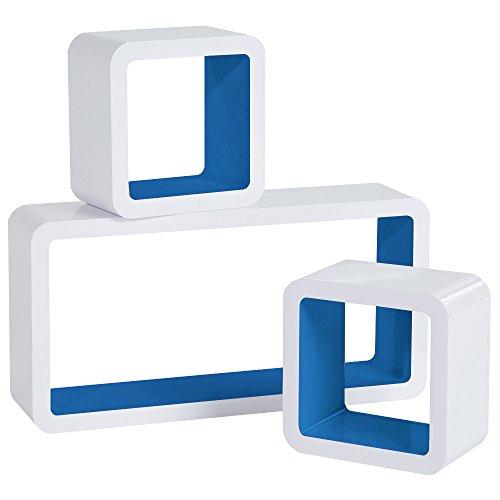 WOLTU Estantería de Pared Estantería Cubo Conjunto de 3 Estante Retro Colgantes CD Libreria Decorativo Baldas Flotante Pared Azul Oscuro/Blanco 9225-a