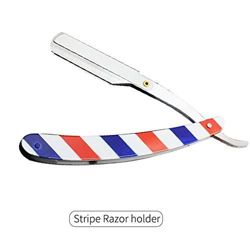 Mrjg Rasoir Hommes Rasage Barber Outils de Cheveux Rasoir et Lames Noir Antique Pliant Rasage Couteau en Acier Inoxydable Rasoir Holder kit (Color : Stripe)