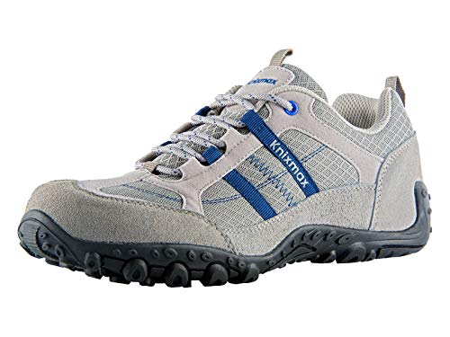 Knixmax - Zapatillas de Senderismo para Hombre, Zapatillas de Montaña Trekking Trail Ligeros Cómodos y Transpirables Zapatillas de Seguridad Low-Top Antideslizante de Deporte, Light Grey EU 41