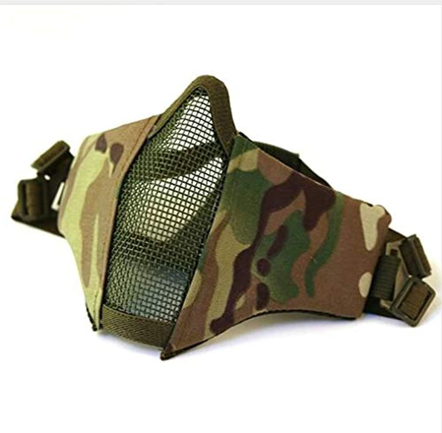 Anti-Pollution Breathable Metal Steel Wire Net Adjustable Predective Mesh Tactical HalfFace Mask Guard Sport Mask   CP