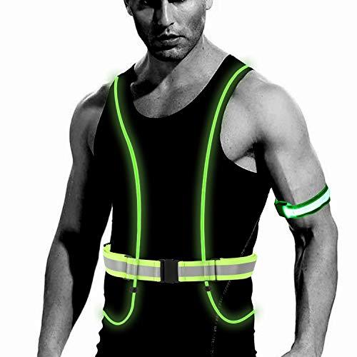 TAGVO LED Reflective Running Vest Armband, 360° High Visibility Safety Vest
