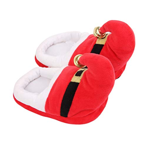 Happyyami 1 Pair Christmas Slippers Santa Claus Costume Accessories Plush Warm Slippers Non Slip Slippers for Christmas Xmas Holiday Winter Size XL (Red)