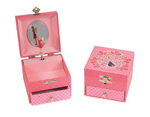 Egmont Toys Spieluhr Schmuckbox Spieldose mit Kleiner Schublade und Tanzender Ballerina Motiv Vogel Pfau