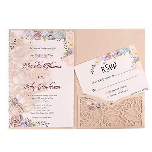 FEIYI 20 PCS 3 Folds Laser Cut Rose Shape Wedding Invitations Cards for Wedding Bridal Shower Engagement Birthday Graduation Invitation Cards (Blush Pink)