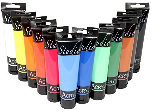 Magi Studio-Acryl Farbset 12 x 100 ml Tube, insgesamt 1.200 ml Künstlerfarbe Acrylfarbe