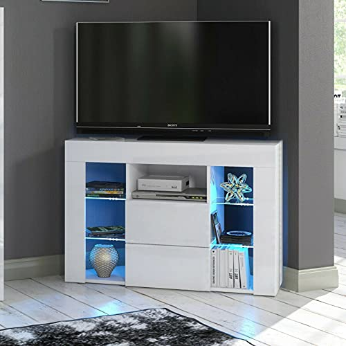 HUIJK Sideboard TV Unit Cabinet with Drawers Cupboard High Gloss Doors LED Light Shelf