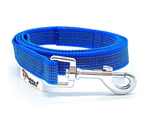 Twinkys Dog Style Made IN Germany Schleppleine Hundeleine gummiert 20 mm breit für Hunde bis 50 kg - OHNE Handschlaufe 1 Meter Blau