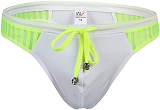 sandbank Men's Sexy Low Rise Mesh Thong Swim Briefs Drawstring Bikini Sport Swimsuit - white - X-Large