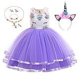 Yigoo Unicornio tutú para niña, disfraz de princesa, para cosplay, carnaval, Halloween,...
