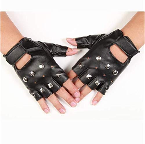 Guantes tácticos hombres y mujeres punk street dance guantes de cuero de medio dedo guantes de rendimiento sin dedos guantes de rendimiento de baile