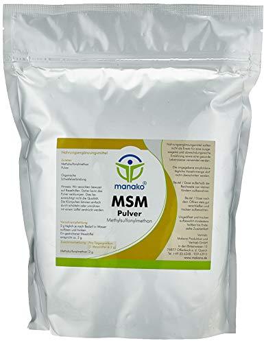 manako MSM (Methylsulfonylmethan) kristallines Pulver, Premiumqualität, 99.9% rein, 1000 g Beutel (1 x 1 kg)