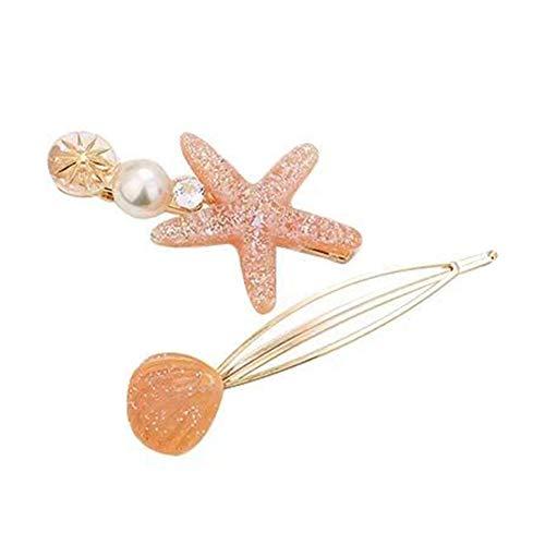 Dontdo Lot de 2 barrettes à cheveux simples en forme d'étoile de mer avec fausses perles et strass incrustés