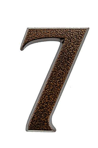 HUBER número de casa 7 de aluminio 10 cm I números de casa para puerta - placas de número de casa en noble diseño de cobre antiguo 3D, con recubrimiento de polvo