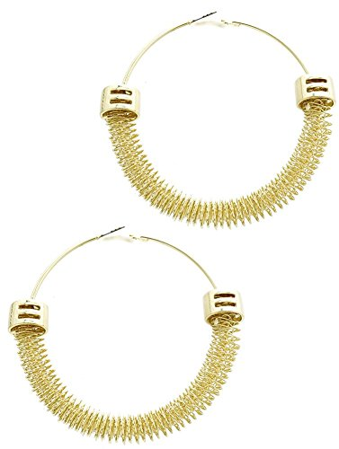 Beyoutifulthings Dames roestvrij staal verguld 1 paar oorbellen geel goud met slinger van sterren diameter 8,3 cm