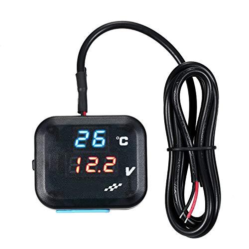 KKmoon Reloj Indicador Temperatura Moto,Voltímetro de Batería Termómetro con Luz Azul/Roja Pantalla LED