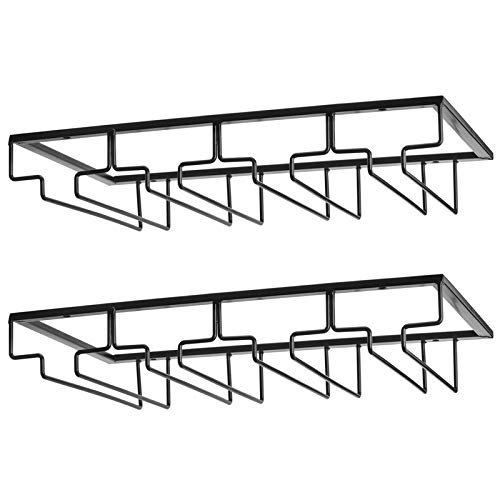 Wine Glass Rack - Under Cabinet Stemware Wine Glass Holder Glasses Storage Hanger 2 Pack Metal Organizer for Bar Kitchen 4 Rows Black
