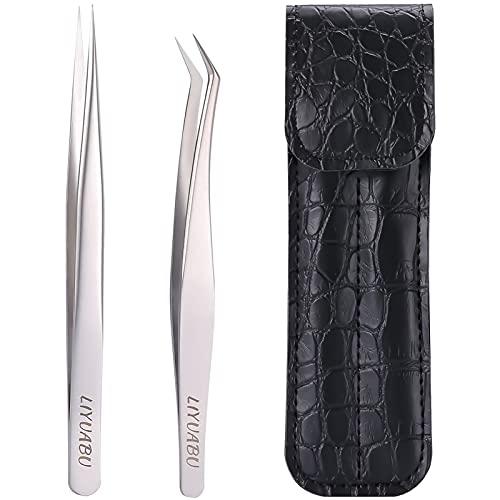 Pinzas de extensión de pestañas, 2 pinzas de extensión de pestañas puntiagudas rectas y curvas de precisión, kit profesional para extensiones de pestañas individuales