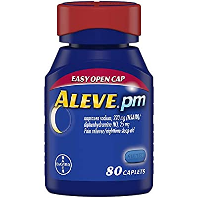 Aleve PM helps you fall asleep and wake refreshed and feeling relieved from pain into the morning. Only Aleve PM combines a safe, non-habit forming sleep aid and the 12-hour pain relieving strength of Aleve. Two Aleve PM caplets help you fall asleep ...