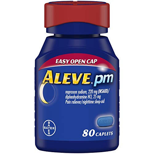 Aleve PM, Fast Acting Sleep Aid and Pain Relief for Headaches, Muscle Aches, Non-Habit Forming 220 mg Naproxen Sodium and 25 mg Diphenhydramine HCl Capsules (80 Count)