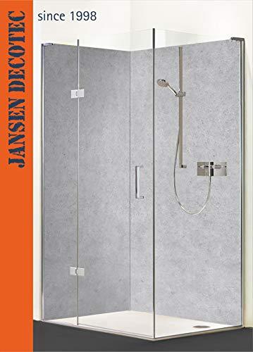 Eck - Duschrückwand, 2 Segmente je 90x200cm, Motiv: Betonoptik - KOSTENLOSER Zuschnitt auf Ihr Wunschformat !