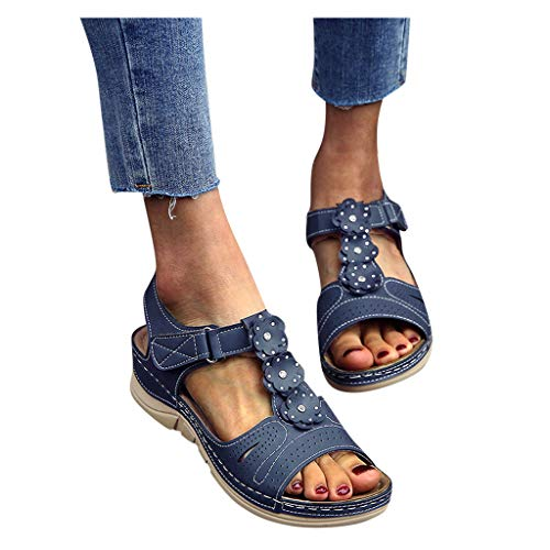 haoricu Sandals Women's Orthopedic Open Toe Leather Sandals, Premium Comfy Hook and Loop Closure Sport Sandal(Black,10.5)