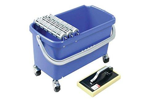 Waschsystem MAXIMO Profi SET 3 23 l Metallachsen mit 3 Waschwalzen, 4 Lenkräder, 1 Hydro-Rasterschwammbrett Flieseneimer Fliesenreinigung Fliesen-Waschset Wascheimer Fliesenwascheimer
