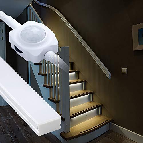 proventa® LED-Treppenstufenbeleuchtung mit Bewegungsmelder und Alukanälen, dimmbar, Komplettset für 15 Stufen, 2.700K warmweiß, montagefreundliche Steckverbindung