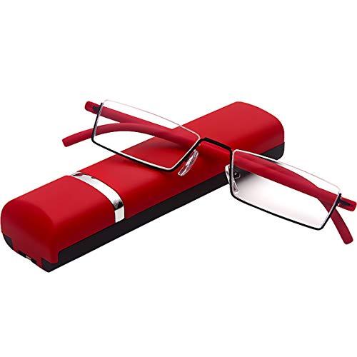 Leesbril met ultralicht TR90 montuur leeshulp halve bril van metalen frame met halmontuur zeshulp met brillenkoker voor dames en heren +2 Dioptrien (1er Pack) rood