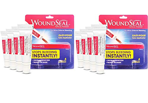 WoundSeal Powder 4 Each Pack of 2  Wound Care First Aid for Cuts Scrapes and Abrasions  Stops Bleeding in Seconds Without Stitches or Bandages  Safe and Effective for People of All Ages and Pets