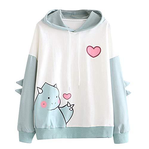 YIKEYO Felpe Tumblr Ragazza 12 14 16 Anni Donna Felpe con Cappuccio - Kawaii Dinosauro Hoodie Sweatshirt - Casual Vestiti Ragazza Top Autunno Invernale