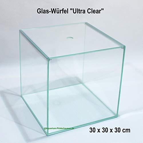 Glas-Aquarium/Terrarium Würfel 30x30x30cm,27L,Ultra Clear Glas+Abdeckung+Unterlage