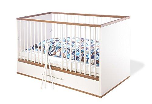 Pinolino Kinderbett Tuula, modernes Kinderbett (140 x 70 cm) mit 3 Schlupfsprossen und Bettkasten, weiß/Nussbaum mit Echtholzstruktur, Umbauseiten enthalten (Art.-Nr. 11 00 12)